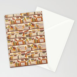 Bookshelf Pattern Light Stationery Cards