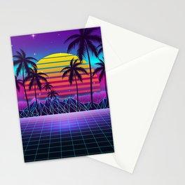 Radiant Sunset Synthwave Stationery Cards