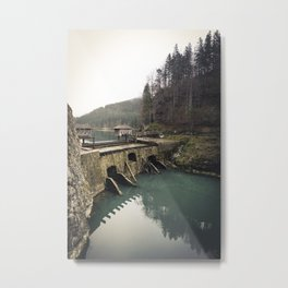 wooden Cabins on a Dam somewhere in the austrian Alps Metal Print