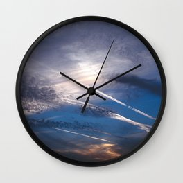 Crossroads in the Cloudy Sunset Wall Clock