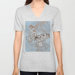 Blue Butterfly Spring Unisex V-Neck