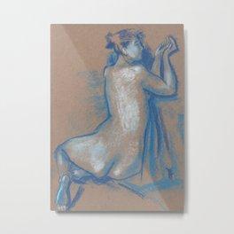 Sitting Woman, Nude Sketch, Blue Series, Artistic Nudity Metal Print