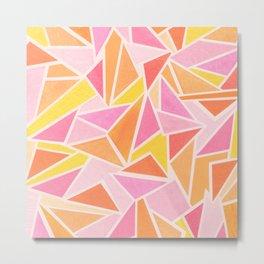 Hot Pink Triangles Metal Print