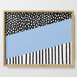 Polka Dots and Stripes Pattern (black/white/blue) Serving Tray