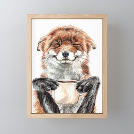 """"""" Morning fox """" Red fox with her morning coffee Framed Mini Art Print"""