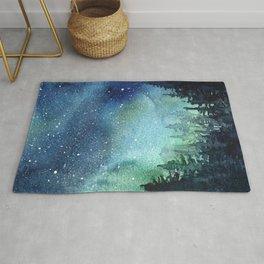 Galaxy Watercolor Aurora Borealis Painting Rug