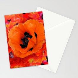 DECORATIVE ORANGE POPPY FLOWERS COMPOSITION Stationery Cards