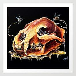 Honey Bear Skull Art Print
