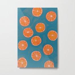 hand-painted california orange slices Metal Print