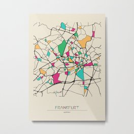 Colorful City Maps: Frankfurt, Germany Metal Print