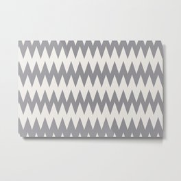 Zigzag Line Pattern Gray and Off White Pantone's Color of the Year 2021 Ultimate Gray & Cloud Dancer Metal Print