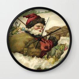 Vintage Santa Retro X-mas Illustration Wall Clock