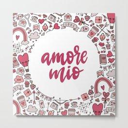 Valentine Amore Mio Pattern Metal Print