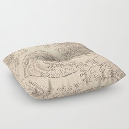 Wave by Katsushika Hokusai 1760–1849, Japanese Floor Pillow