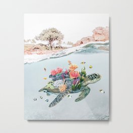 Coral Turtle • Save the Planet Metal Print