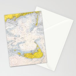 Vintage Map of The Nantucket Sound (1966) Stationery Cards