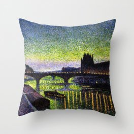 The Louvre, Pont du Carrousel, River Seine, Paris green twilight cityscape painting by Maximilien Lu Throw Pillow