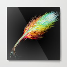 Beautiful Colorful Feather - Decor Art Metal Print
