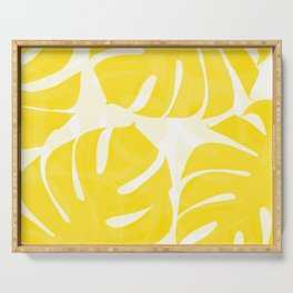 Mellow Yellow Monstera Leaves White Background #decor #society6 #buyart Serving Tray