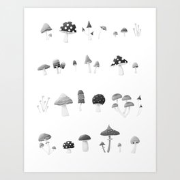 Mushrooms Black and White Art Print