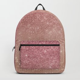 Girly Chic Pink Gold Glitter Ombre Backpack