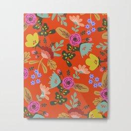 Funky Red Floral Metal Print