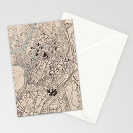 Vintage Map of Metz France (1943) Stationery Cards