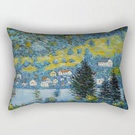 Variegated Blue Alpine Village 'Little Venice' on Lake Attersee in Austrian Alps by Gustav Klimt Rectangular Pillow