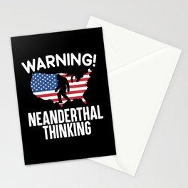 Warning Neanderthal Thinking Caveman American USA Stationery Cards