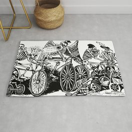 Calavera Cyclists   Day of the Dead   Dia de los Muertos   Skulls and Skeletons   Vintage Skeletons   Black and White    Rug