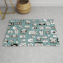 Smile action toy camera vintage photography pattern Rug