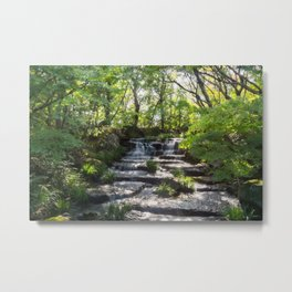 Beautiful Stream in a Japanese Garden in Himeji, Japan. Metal Print