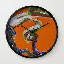 African American Masterpiece 'Paranoia Stroll' abstract landscape painting by E.J. Martin Wall Clock