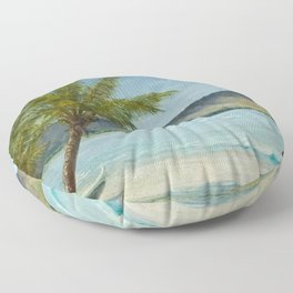 Waikiki Beach at First Sunlight tropical island landscape painting by D. Howard Hitchcock Floor Pillow