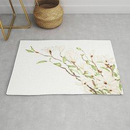 white magnolia blossom watercolor Rug