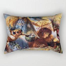 Fairies with birds by John Fitzgerald Anster Rectangular Pillow