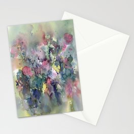 Impressionistic Watercolor of Sweet Peas Stationery Cards
