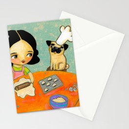 Kitchen Art Pug dog helps make perogies cute food art poster painting  by Tascha Stationery Cards