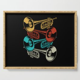 Trumpet Retro Instrument Band Musicians Serving Tray
