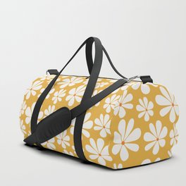 Floral Daisy Pattern - Golden Yellow Duffle Bag
