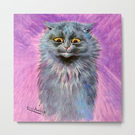 Russian Blue Cat - Louis Wain Cats Metal Print