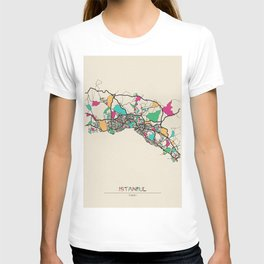 Colorful City Maps: Istanbul, Turkey T-shirt