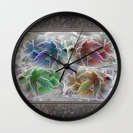 Frosted Maple Leaves Pop Art Wall Clock