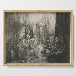 Rembrandt - Christ Crucified between Two Thieves (The Three Crosses) (1655) Serving Tray