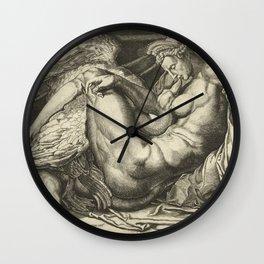 "Cornelis Bos ""Leda and the Swan"" after Michelangelo Buonarroti Wall Clock"