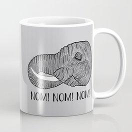 Elephant NOM! NOM! NOM! Grey Background Coffee Mug