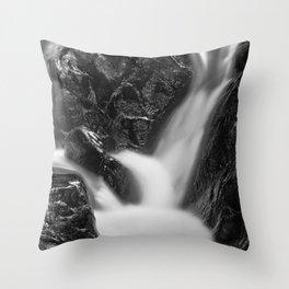 Shelving Rock Stream - Black & White Throw Pillow