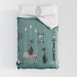 Mid Century Kitty Mischief - ©studioxtine Comforters