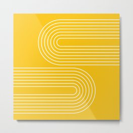 Geometric Lines in Mustard Yellow (Rainbow Abstraction) Metal Print