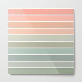 70s Stripe - pastel pink and mint, spring, pink stripes, desert, boho, dorm decor Metal Print